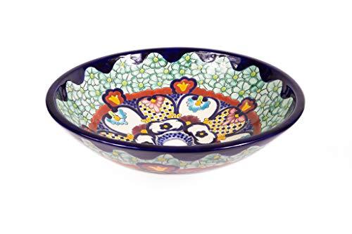Juanetta - Handgemachtes mexikanisches Waschbecken - Cerames | Aufsatzwaschbecken 44 x 13,5 cm | Handgemachte Handbemalte Waschschale aus Mexiko