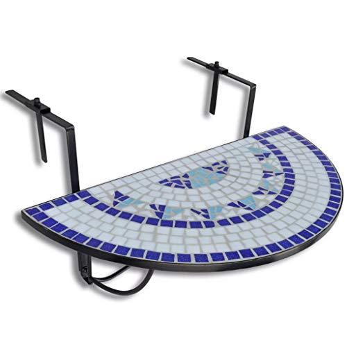 Balcony Folding Table, Railing Table Semi-Circular Serving Table for Patio Garden (Blue White)