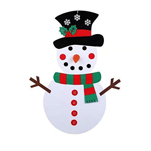 WESSD Weihnachten DIY Filz Schneemann Set Abnehmbare Ornamente Weihnachten Wand hängen Spiele für Weihnachtsschmuck für Zuhause