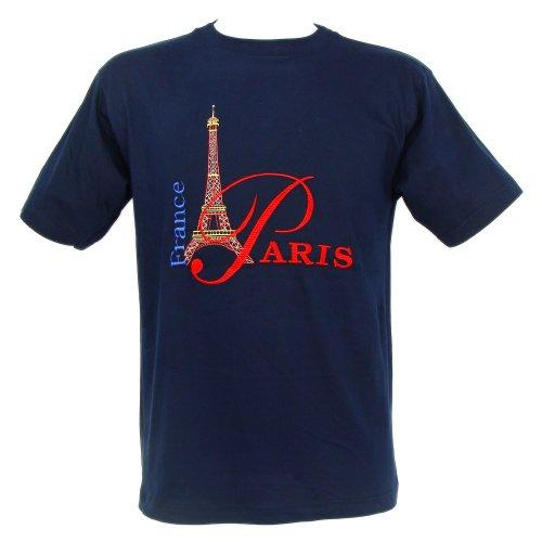 T-Shirt Homme Brodé 'Tour Eiffel France' - Bleu (XL)