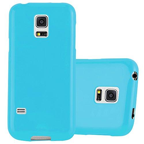 Cadorabo Hülle für Samsung Galaxy S5 Mini / S5 Mini DUOS - Hülle in Jelly HELL BLAU – Handyhülle aus TPU Silikon im Jelly Design - Silikonhülle Schutzhülle Ultra Slim Soft Back Cover Case Bumper