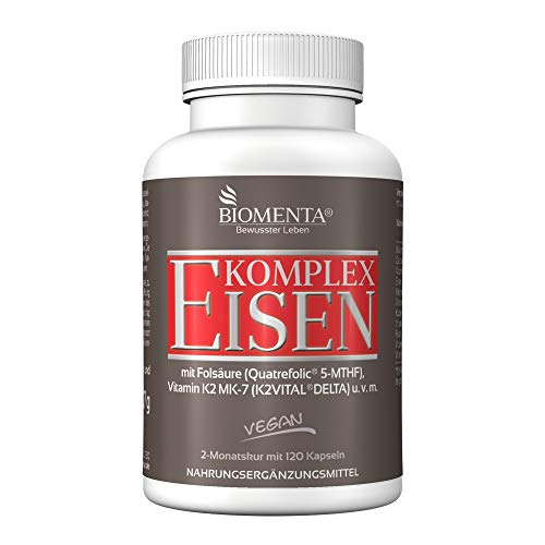 BIOMENTA Eisen Komplex – mit Eisenbisglycinat + Kupfer + Vitamin A + Vitamin C + Vitamin K2 MK7 + Folsäure + B-Vitamine + Calcium + Kalium – vegan – 120 Eisen Kapseln - 2 Monatskur
