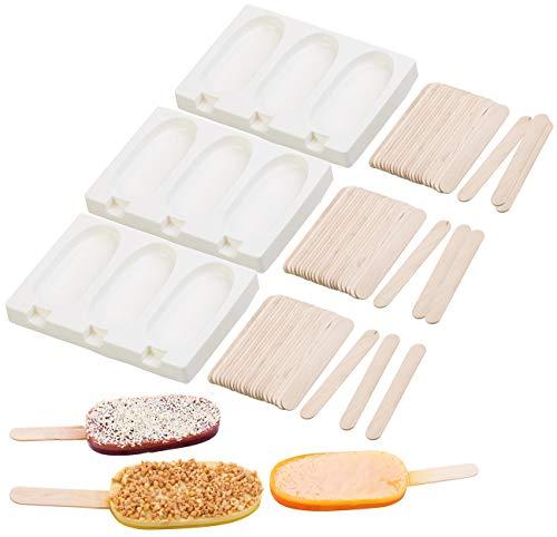 Rosenstein & Söhne Eisform: 3 Silikon-Formen für 9 Eis am Stiel, je 80 ml, mit 72 Holzstielen (Schokoladen Formen)