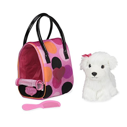 Pucci Pups by Battat – Bichon Frisé Stuffed Puppy with Colorful Polka Dot Stuffed Animal Bag (ST8356Z)