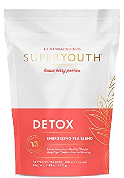 Super Youth Detox Tea  All-Natural Laxative-Free Supports Weight Loss Helps Reduce Bloating Natural Energy Supports Immune System Vegan 28 Servings