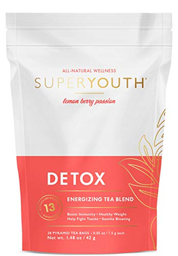 Super Youth Detox Tea: All-Natural, Laxative-Free, Supports Weight Loss, Helps Reduce Bloating, Natural Energy, Supports Immune System, Vegan, 28 Servings