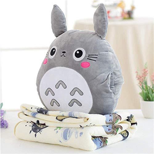 ZRSH 3 IN 1 Cute Totoro Plüsch Spielzeug Plüschtier Geschenk Cartoon Chinchilla Kissen Quilt Puppe Kissen Decke Klimaanlage Decke Kissen,Grau