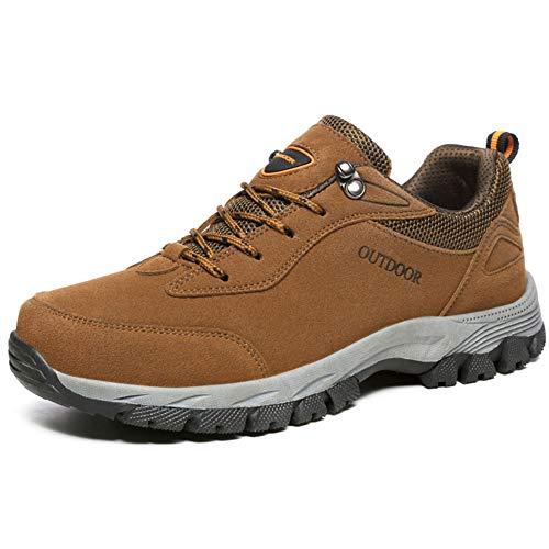 GBZLFH Zapatos de senderismo para hombres, zapatos deportivos de senderismo al aire libre, zapatos para caminar y viajes de ocio, antideslizantes para entrenamiento escalada,Marrón,42