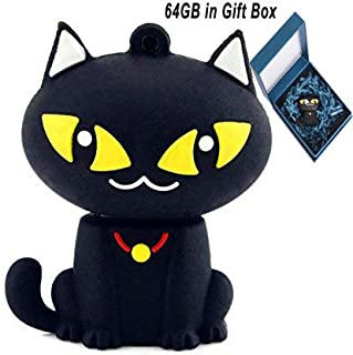 Cute Flash Drive 64GB, Aretop USB2.0 Cute Cartoon Miniature Black Cat USB Memory Stick Pendrive for Computer 64GB Thumb Drive USB Jump Drive Data Storage Business Gift for Father's Day Present