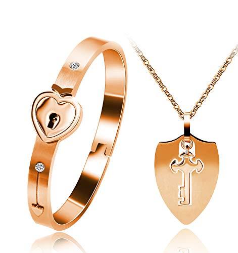 Colgante con collar y pulsera de corazón - Conjunto de joyas de pareja de acero inoxidable Y473