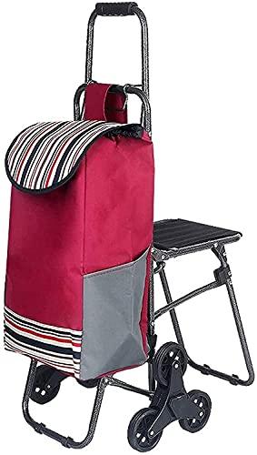 Eortzzpc Carrello a Mano Carrello della Spesa Pieghevole con sedie a 6 Ruote Carrello della Spesa Pieghevole Scale da Arrampicata Scale da Arrampicata Carrello dei Bagagli (Colore: Rosso, Dimensioni: