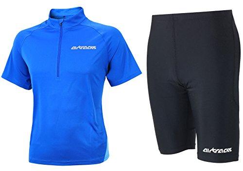 Airtracks FUNKTIONS-LAUFSET - Laufhose PRO AIR KURZ/Running Hose + Laufshirt Kurzarm AIR TECH/Running T-Shirt - blau-schwarz - L