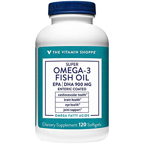 The Vitamin Shoppe Omega 3 Fish Oil 1290mg, EPA 735mg DHA 165mg, Purity Assured, Molecularly Distilled to Support Cardiovascular, Joint and Brain Health(120 Softgels)