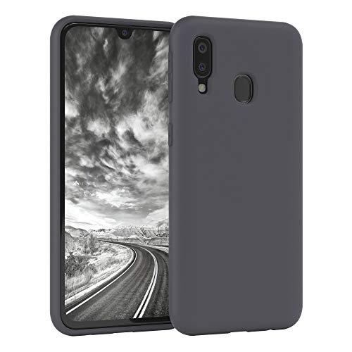 EAZY CASE Nano Silikon Handyhülle kompatibel mit Samsung Galaxy A40, Slimcover mit Kameraschutz & Innenfutter, Silikonhülle, Schutzhülle, Bumper, Handy Hülle, Hülle, Softcase Ultra dünn, Anthrazit
