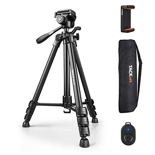 Stativ Handy/ Kamera/ i Phone Aluminium 360 Grad Dreibeinstativ 150cm mit Bluetooth Fernbedienung, Handy Halterung und Tragetasche, Tacklife MLT02