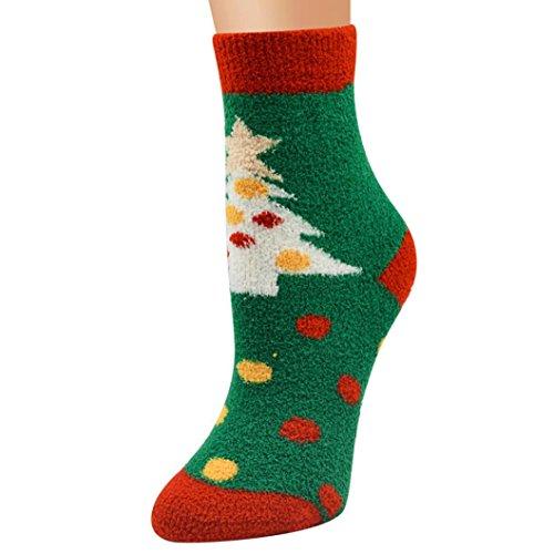 TWIFER Frauen Männer Weihnachtssocken Bequeme Streifen Baumwollsocke Kurze Söckchen (C, 24cm)