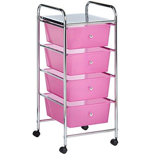 VonHaus 4 Schubladen Aufbewahrungswagen für Heimbürobedarf, Makeup & Schönheitsaccessoires - Pink - inklusive GRATIS Erweiterter 2-Jahres-Garantie