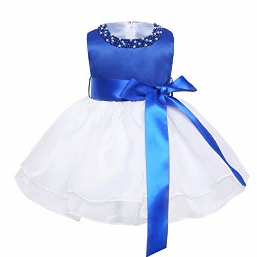 iiniim Princesse Robe Demoiselle d'honneur Blanc Bébé Fille sans Manches en Organza Tutu Col Perle Robe de Bal Mariage Anniversaire 9 Mois-3 Ans Bleu 3-6 Mois