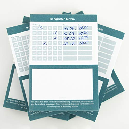Terminblock Terminblöcke Terminzettel nächster Termin für Ärzte, Kosmetiker, Frisör & Co je Block 50 Blatt (blau, 10 Stück)