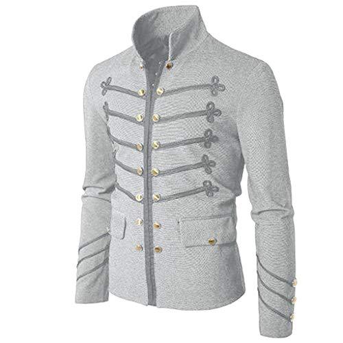 clearance sale!!ZEFOTIM Men's Coat Jacket Gothic Embroider Button Coat Uniform Costume Praty Outwear (Medium,B-Grey)