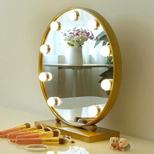 10 LED Dreifarbtemperatur-LED-Spiegelleuchte Langlebig Dimmbar Einstellbar Weiß für Make-up(Tricolor)