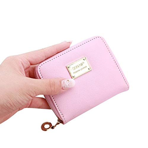 Women's wallet short coin purse fashion wallet woman card holder small wallet female buckle mini clutch girl-Pink