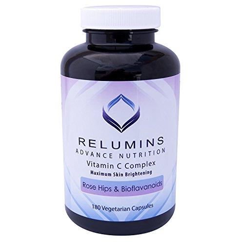 Relumins Advance Vitamin C - MAX Skin Whitening Complex with Rose Hips & Bioflavonoids - Three Month Supply!