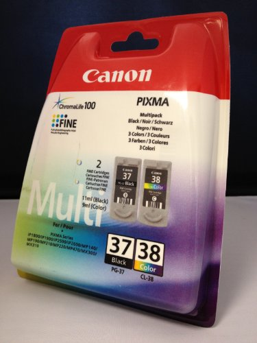 2 Originales Cartuchos de tinta para Canon Pixma MP 140 (Negro/Color)