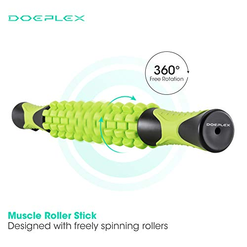 """Doeplex Muscle Roller Massage Stick for Athletes, 17.5"""" Body Massager Soreness, Cramping Pain & Tightness Relief Helps Legs & Back Recovery Tools, Travel Size (Standard 17.5 inch)"""