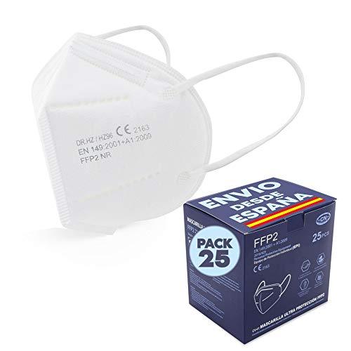 Mascarilla FFP2 Blanca 25 unidades Protectora, Transpirables,Protección EPI Certificación CE