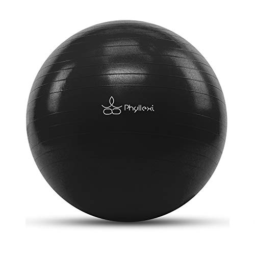 PHYLLEXI Exercise Ball (55-85cm) Extra Thick Yoga Ball Chair-Pro Grade Anti-Burst Heavy Duty Stability Ball Supports 2200lbs, Birthing Ball with Quick Pump for Office & Home & Gym(Black 65cm)