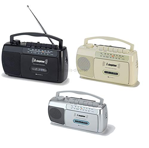 Steepletone SCR209 Portable MW-FM Radio Cassette Tape Player Recorder with Built In Microphone - Black