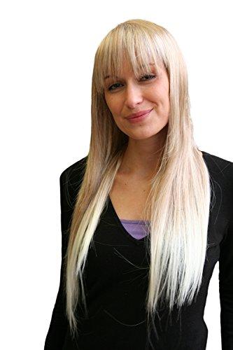VK Event Fashion - Perruque Ange & Vampire Blonde, Longue, Lisse, Avec Frange