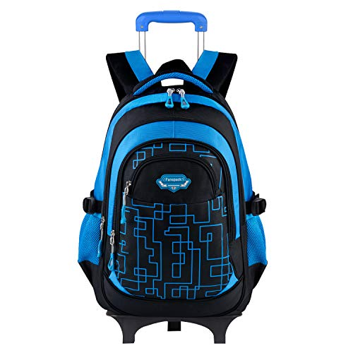 Fanspack School Bags for Boys with Wheels Rucksack for School Childrens Luggage on Wheels Kids Trolley Backpack Rolling School Backpack for Boys