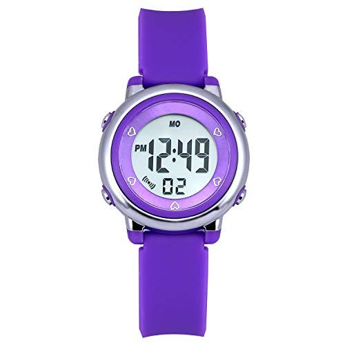 Zeiger Kinder Uhr Digital LCD Quarzwerk mit Lila Silikon Armband Datum Alarm KW027