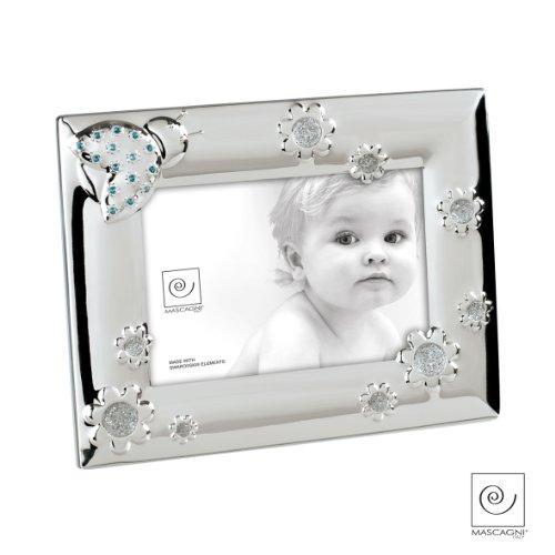Mascagni 8003426008386 fotolijst Bebé met Swarovski-kristallen, metaal, blauw, 17 x 22 x 1,5 cm