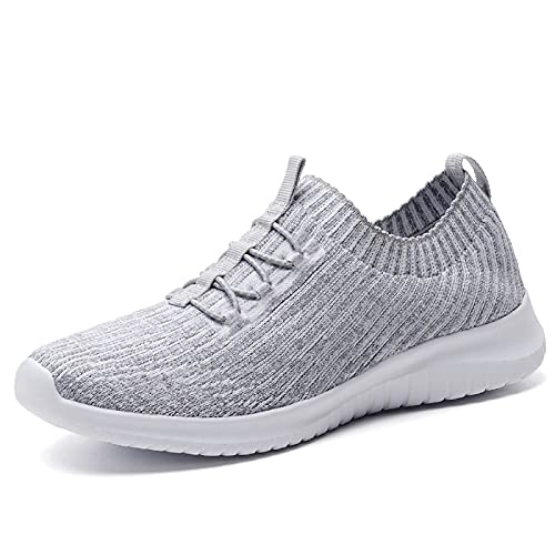 konhill Women's Comfortable Walking Shoes - Tennis Athletic Casual Slip on Sneakers 5 US L.Gray,35