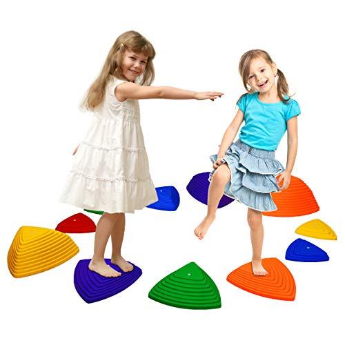 COSTWAY 11tlg. Hügelkuppen Set Balancierset Balance-Steine Flusssteine Balancespiel Gymnastikblöcke in 4 Größen