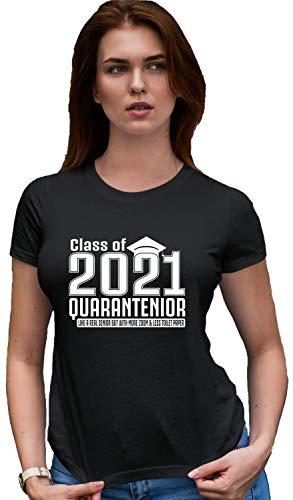 Go All Out Medium Black Womens Class of 2020 Quarantenior Funny Graduate Quarantine Deluxe Soft T-Shirt