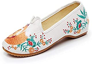 JIUZHOUTONG Women's Chinese Ethnic Embroidery Flat Slip-in Inside Hides Elevator Dress Shoes Fox