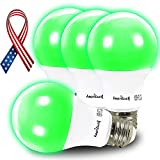 AmeriLuck Green Colored A19 LED Light Bulbs, 60W Equivalent (7W), 4 Pack
