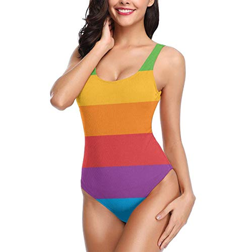 Women One Piece Swimsuit Gay Pride LGBT Color Palette Swimsuits Backless Thong Bathing Suits