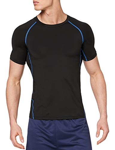 OXENSPORT Funktionsshirt Herren, Kompressionsshirt Fitness Kurzarm, Laufshirt Männer, Sportshirts Atmungsaktiv (Schwarz-Blau, XXL)