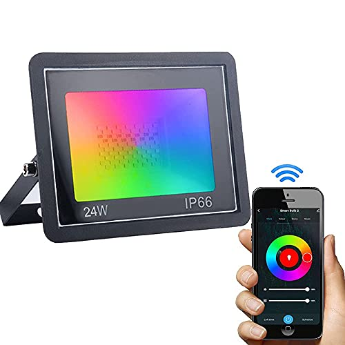 Dogain Foco LED RGB de 24 W, para exteriores, foco LED compatible con Alexa Echo, Google Home, foco de jardín IP66 resistente al agua, con temporizador para fiestas en el jardín y árbol, luz ambiental