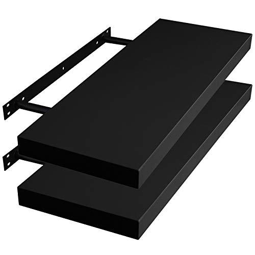 WOLTU RG9371sz-2 2X Wandregal Wandboard Bücherregal Regale für Deko Wandablagen aus MDF Holz, 2er Set Hängeregal Schwarz, 30x23x3,8cm