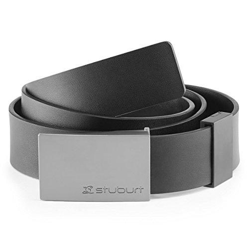 Stuburt SBBELT1039 - Cintura in Pelle da Uomo, con Fibbia in Metallo incisa, per Pantaloni e Pantaloncini da Golf, Colore: Nero