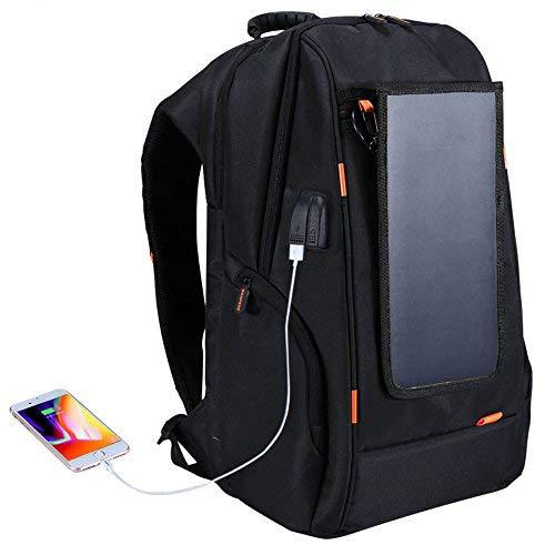 Docooler Rucksack Solar, Camping-Tasche mit Solarpanel, schwarz, Jugend Student Mnnlich Outdoor Reise-USB Aufladung Solar Wasserdicht Rucksack atmungsaktiv