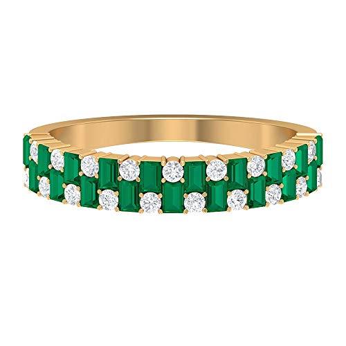 Anillo de turmalina verde de corte baguette de 2,20 x 1,5 mm, anillo de diamante HI-SI, anillo de eternidad, anillo de boda de oro (calidad AAA), 14K Oro amarillo, Size:EU 49