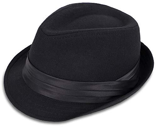 Simplicity Fedora Hats for Men Unisex Short Brim Structured Gangster Trilby Felt Fedora Hat for Women, Black