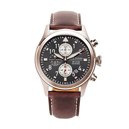 Jack Mason Men's Chronograph Watch Aviator Brown Leather Strap JM-A102-108